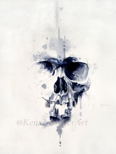 "Watercolor skull painting by @KenzieMillerArt  Great tattoo art idea https://www.facebook.com/kenziemillerart  Mixed Media on paper 11""x14""  watercolor ink pen pencil charcoal abstract skull splatter drip society6"