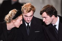 Much missed: Princess Maria Laura, Prince Joachim and Prince Amedeo of Belgium talk during the funeral service