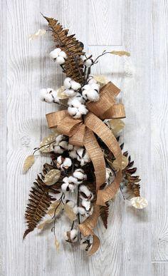 Ships Free Farmhouse Cotton Swag Natural Cotton Boll Swag