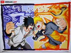 My drawing of Sasuke vs Naruto from Naruto Shippuden :D
