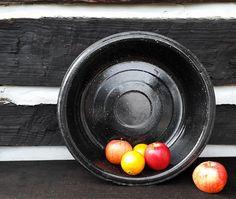 Vintage Porcelain Pan or Shallow Bucket, Black Speckled Enamel; Farm or Barn Tin Pail; Industrial Storage Display