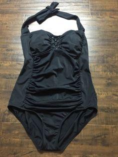 Women's Swimsuit Jantzen Classics One Piece Size 14 Black Halter B14 | eBay
