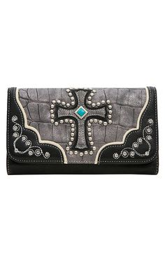 Blazin Roxx® Ladies Grey & Black Gator Print with Cross Flap Wallet
