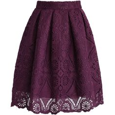Chicwish Purple Dream Full Lace Skirt ($45) found on Polyvore featuring skirts, bottoms, faldas, purple, purple skirt, box pleat skirt, crochet lace skirt, lacy skirt and knee length lace skirt