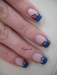 valentine design with hearts Blue French Style Manicure tips with open pink hearts - Simple Free Hand Nail Art