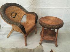 WICKER CANE 2 SET TABLE & CHAIR MID CENTURY RETRO