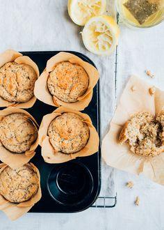 Yogurt Muffins, Healthy Muffins, Lemon Muffins, Baking Recipes, Cake Recipes, Dessert Recipes, Feel Good Food, Love Food, Lemon Yogurt