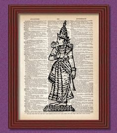 Saraswathi dictionary art print decor - Victorian Edwardian Illustration Vintage Book