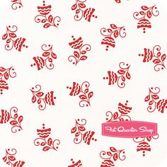 Nursery Fabric: Fatquartershop.com - Cruzin' Red on White Buds by Barbara Jones for Henry Glass Fabrics SKU# 5996-8 $7.53