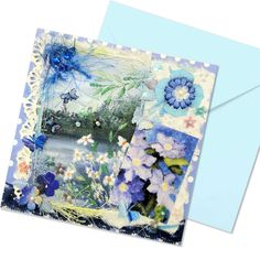 An exclusive greetings card with a hand painted fabric panel of a lake landscape with flowers and butterflies. Mounted on a blue polka dot surround with matching blue envelope. This card has been highly embellished with a print of a blue clematis watercolour painting, hand embroidery, paper lace, fancy yarns, handmade paper, gems, and mulberry flowers all with added sparkle. Absolute luxury.  This one off greetings card has a plain pale blue inner left blank for your special message… Fabric Painting, Watercolour Painting, Blue Clematis, Hand Painted Fabric, Blue Envelopes, Flower Landscape, Paper Lace, Unique Cards, Blue Polka Dots