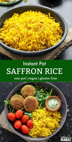 Easy and aromatic Saffron Rice made in the Instant Pot! This amazing side dish pairs well with almosy everything. Vegan and gluten-free. #vegan #instantpot