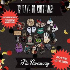 #Repost @never_notclever  Don't forget to enter the 12 Days of Creepmas giveaway! Follow all of the participating accounts and then comment on the 12 Days of Creepmas themed pictures of the pins you want to win with a friend tagged!  @never_notclever (beige spirit board) @girlypopbows (eyeball) @deeplydapper (Predator) @allangraves (Demons) @demonicpinfestation (I Like Death) @ghoulgangofficial (Vincent Price) @molasseswave (The Losers Club) @happysupplyco (Scream phone) @hellacoolkids…