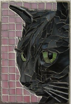 Black cat mosaic by Linda Pieroth Smith