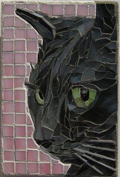 Black cat mosaic by Linda Pieroth Smith