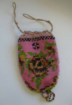 Antique beaded floral purse