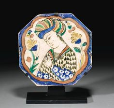 A KUBATCHI OCTAGONAL FIGURAL POTTERY TILE, SAFAVID PERSIA, 17TH CENTURY Islamic Art Pattern, Pattern Art, Islamic Art Calligraphy, Calligraphy Alphabet, Celtic Art, Celtic Dragon, Museums In Nyc, Antique Tiles, Hand Painted Plates
