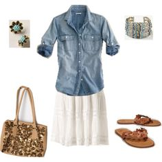 Denim top, white skirt & thong sandals -add a bright tee or tank -beach stylish -Polyvore