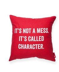 It's Not a Mess Red Throw Pillow