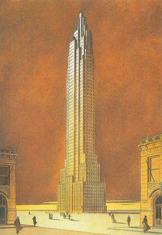 Art Deco, Empire State-esque skyscraper stands alone in an eerie plaza worthy of De Chirico, dwarfing the historical structures in the foreground as citizens are seemingly drawn towards it