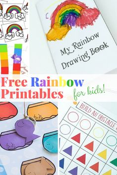 These free rainbow printables are perfect for a lazy afternoon or for a quick lesson in counting, reading, or color recognition. Free Preschool, Preschool Worksheets, Kindergarten Activities, Preschool Ideas, Easy Crafts For Kids, Craft Activities For Kids, Rainbow Activities, Spring Activities, Toddler Activities