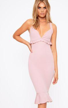 7ac3c2d2ee Dusty Pink Frill Detail Midi Dress