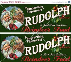 Vintage Christmas Reindeer Food Label Tag by chocolaterabbit, $1.91