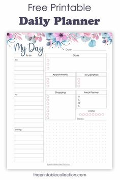 Daily Planner Free Printable. Plan your day to day life with this daily planner page, and stay organized. | The Printable Collection
