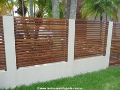 Fences Block Rendered Wall And Pillars With Horizontal Timber Slat picture