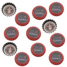 Printed Red Black Crown Bottle Caps Craft Scrapbook No Liners (50)