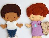 Angels4Epilepsy Fundraiser, Ayden & Michael Felt Paper Doll Toys Set, Epilepsy Awareness, 9 ITH Digital Design Files