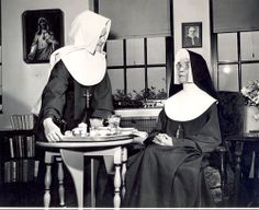Immaculate Heart of Mary Novice Sister Barbara (Ann Paul) Berg and Sister Generosa Golden in the Infirmary 1945. Novices had many charges including serving trays in the infirmary.#HistoryNun #NCSW http://ihmsisters.org