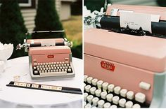 old timey typewrite for the guest book...think that's a great idea. guests type a message