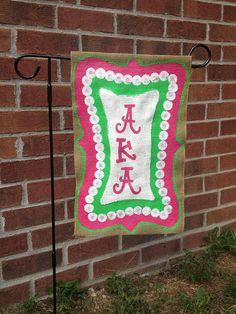 AKA Burlap Garden Flag- Sorority on Etsy, $20.00 #prettypearlsinc