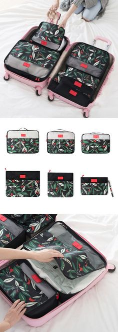 Women 6 PCS Travel Outdoor Storage Bag Luggage Bag Net Bag