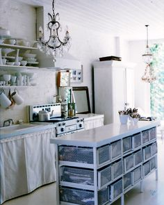 okay, i really hate this kitchen, but i love the island with it's white wire drawers