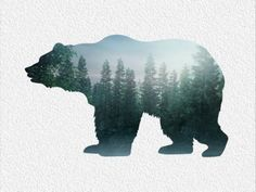 bear image with Tree Tattoo Design
