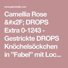 """Camellia Rose / DROPS Extra 0-1243 - Gestrickte DROPS Knöchelsöckchen in """"Fabel"""" mit Lochmuster. Gr. 35 - 43. - Kostenlose Anleitungen von DROPS Design"""