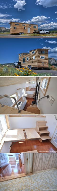 The Otsego Gooseneck is an off-grid tiny house built by Rocky Mountain Tiny Houses and framed with Structural Insulated Panels (SIPs) for extra insulation.