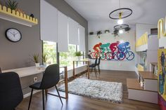 teen room, cycling theme in the kids room, room for 4 kids