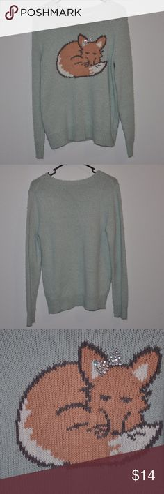 Lauren Conrad Mint Fox Sweater Medium Beautiful, cute, and soft sweater with a cute fox on it. Brand is LC Lauren Conrad. Color is light blue/mint. Size is Medium and fits like that. Materials used in this sweater are cotton and acrylic. Worn but still in good condition. Super cozy!! LC Lauren Conrad Sweaters Crew & Scoop Necks