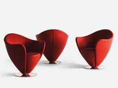 Swivel upholstered leather armchair MON PETIT COEUR Mon Coeur Collection by La Cividina | design Peter Harvey