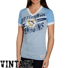 941e00bfd Mitchell   Ness Pittsburgh Penguins Ladies Light Blue Championship Vintage  Heathered Premium V-neck T-shirt Stamy