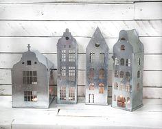Tin Lanterns // Candle holders // Tin houses SET of 4 // modern home decor //housewarming present // weddings gift //christmas theme parties