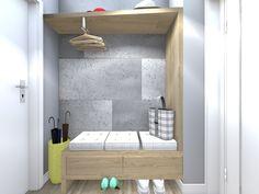 Projekt i aranżacja małego przedpokoju w mieszkaniu w bloku. Styl skandynawski. Alcove, Bathtub, Bathroom, Home Decor, Standing Bath, Washroom, Bathtubs, Decoration Home, Room Decor