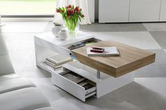 812cbf24bf6d53 ModaNuvo  Hope  Modern White Gloss   Oak Extending Storage Coffee Table  With Drawer