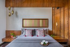 A Sophisticated And Urbane Apartment Interior In Ahmedabad | Space Studio - The Architects Diary Bedroom Furniture, Bedroom Decor, Bedroom Ideas, Indian Bedroom, Niche Design, Indian Interiors, White Brick Walls, Wall Cladding, Ahmedabad