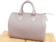 Auth Louis Vuitton Epi Leather Hand Boston Bag Speedy25 Gray Lilac 23110145400 7