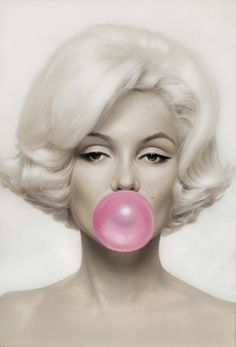 Marilyn Monroe Pink Bubblegum on Canvas Multiple Sizes Available by UKArtDepot…