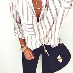 35 Of The Moment Outfits For A Modern Chic Striped Shirt #stripes #shirt #outfit #summer #fashion #casual