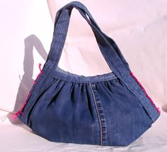 small recycled jeans purse has black liner by Tat2Tina on Etsy, $45.00